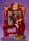 French Wax Fashion Lady by Lafitte-Desirat and Velvet-Framed Mirror 800/1200