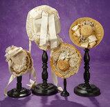 Four Fine French Bebe Bonnets 700/900
