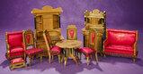 Rare German Wooden Dollhouse Parlour Ensemble in Limed Oak Finish 600/800