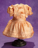 French Peach Silk Bebe Dress with Au Nain Bleu Label 400/500