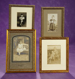 Four Vintage Sepia Photographs of Children with Dolls 200/300