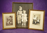 Three Vintage Sepia Photographs of Children with Dolls 200/300