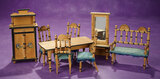 German Wooden Dollhouse Furnishings with Blue Silk Upholstery 500/700