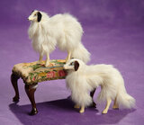 Two Miniature French Borzoi Dogs and Footstool 400/500