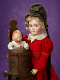 German Bisque Crying Character, OIC, by Kestner in Rare Wooden Baby Chair 800/1100