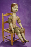 Early Folk Art Carved Wooden Doll with Unique Body Modeling 800/1100