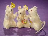 Three White Mohair Mice