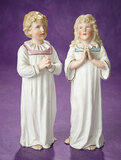 Pair, German Bisque Figures of Young Choir Boy and Girl 300/400
