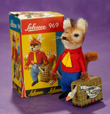 German Mechanical Fox with Goose in Tin Suitcase by Schuco 300/500