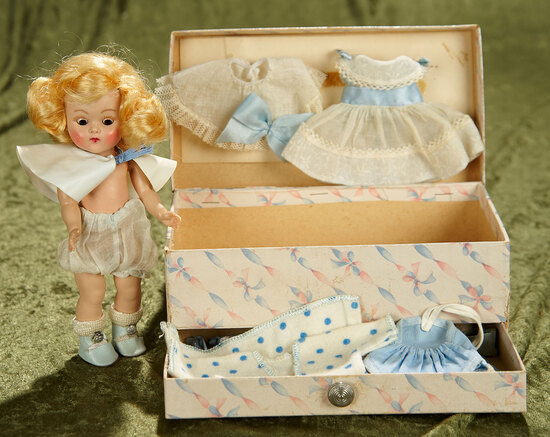 "8"" Blonde Ginny with Painted Lashes in Fitted Costume Trunk with Costumes,1952. $300/500"