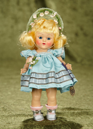 "Blonde Painted Lash Ginny as ""Cheryl"" from Tiny Miss Series with Original Wrist Tag, 1953. $400/500"