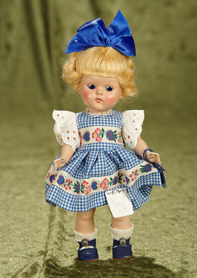 "8"" Blonde Painted Lash Ginny in Hearts, Flowers Dress, Rare Hair Style, Original Box, 1951. $400/500"