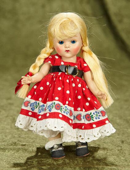 "8"" Blonde Braided ""Ellie"",Square Dancers Series in Hearts,Flowers costume variation,1952. $400/500"