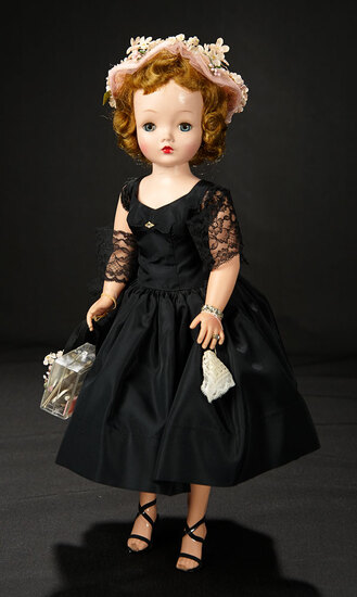 "Cissy in ""Really Grown-Up Frock of Black Taffeta"" with Rare Accessories, 1955 1100/1500"