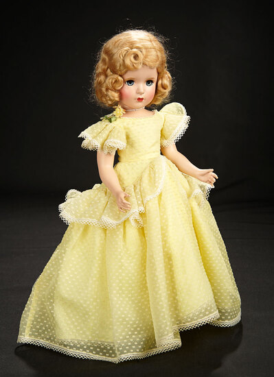"""Margaret Rose"" in Yellow Organdy Dotted Swiss Gown, c.1950 600/800"