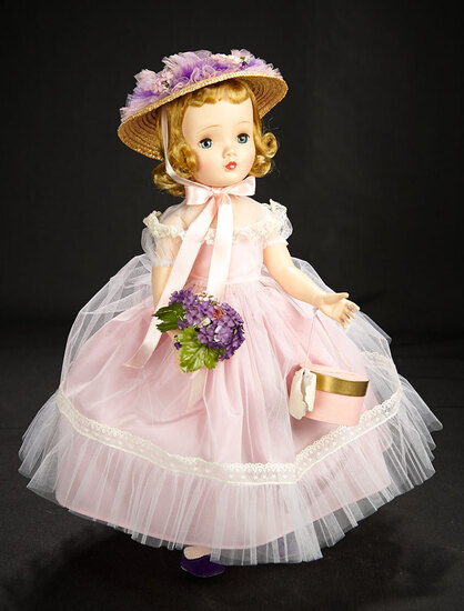 """Binnie Walker"" in Lilac Taffeta Dress with Violet Bouquet, 1954 800/1100"