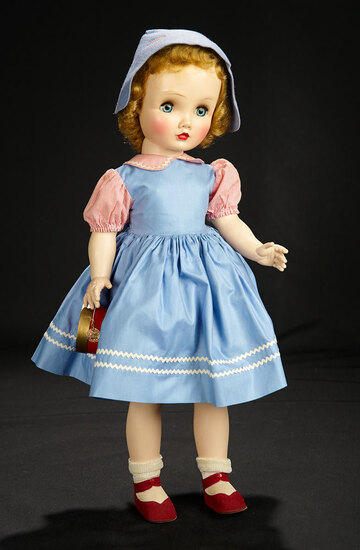 """""""Winsome Winnie Walker"""" in Blue Cotton Pinafore-Style Dress, 1953 600/800"""