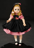 Lissy in Polished Pink Cotton with Black Taffeta Pinafore and Cap, 1956 400/600