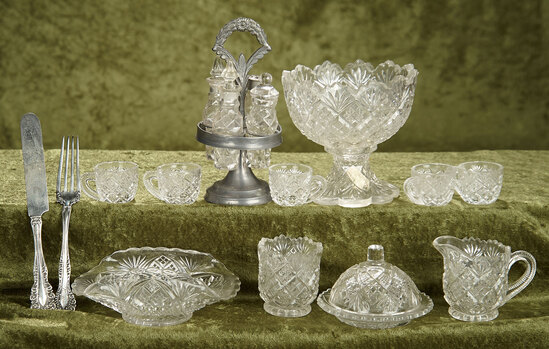 "1""- 6"" Lot. pressed glass doll dishes, cruet set and sterling knife and fork."
