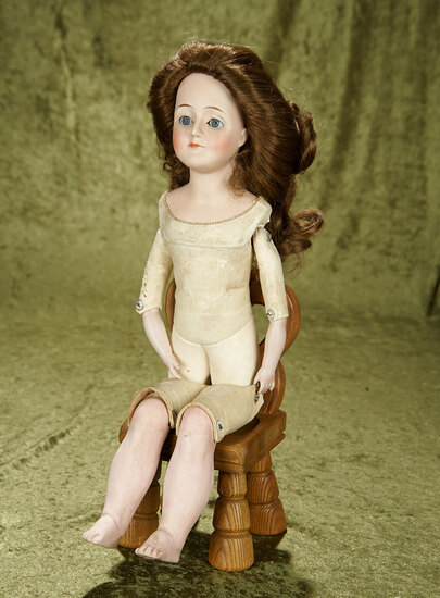 "18"" German bisque Gibson Girl by Kestner on nice kid body with bisque lower arms and sleep eyes."