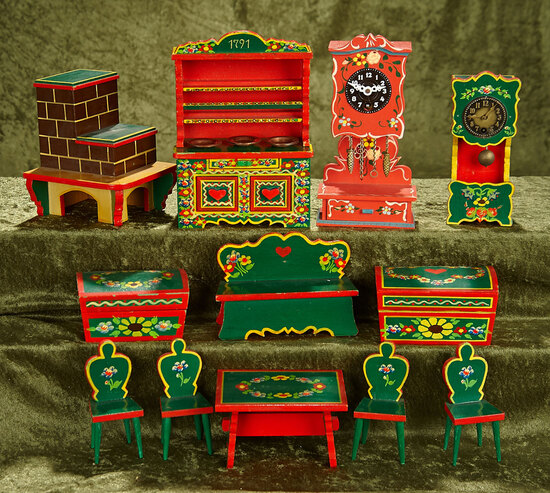 "2""-7"" Lot, German dollhouse furniture with original Bavarian hand painted features."