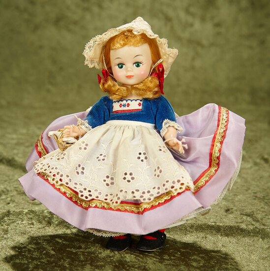 "8.5"" Vintage Dutch girl with rare ""Maggie Mix Up"" face, in original box."