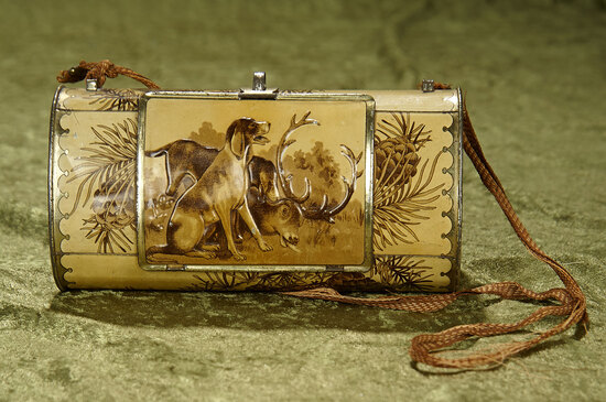 "7"" Antique tin litho of Stag and Hunting Dog as tobacco purse with strap handle."