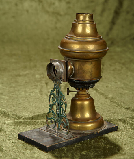 "9"" Antique brass Magic Lantern with built-in oil lantern."