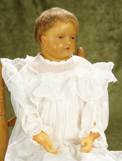 """21"""" English poured wax child doll with wistful expression, in the Montanari manner. $900/1200"""
