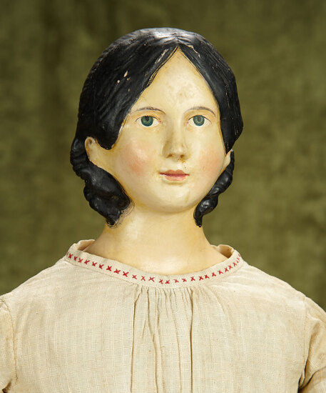 """27"""" Early German paper mache lady doll with rare chignon. $1200/1400"""