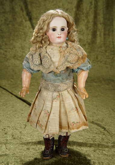 """18"""" French bisque bebe EJ, earliest period, by Jumeau with lovely mohair wig. $3200/3500"""