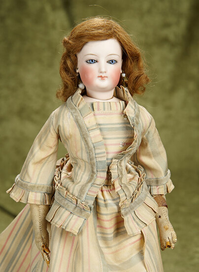 """15"""" French bisque poupee with original kid body. $800/1100"""