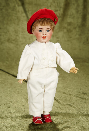 """14"""" French bisque toddler, 236, by SFBJ with antique pique costume. $700/900"""