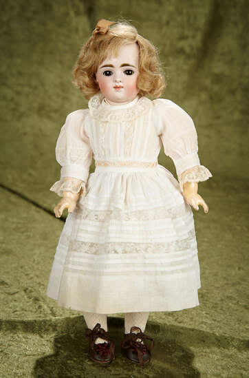 """15"""" German bisque closed mouth doll by Kestner, original body, antique costume. $700/900"""