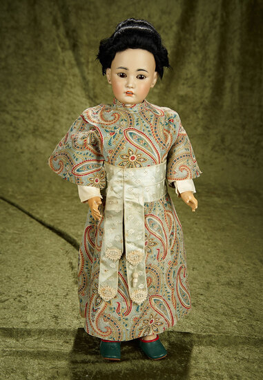 """18"""" German bisque portrait of Asian child, model 1329, by Simon and Halbig. $1100/1300"""