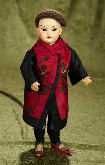 """14"""" German bisque portrait of Asian child with flawless complexion, antique costume. $900/1100"""