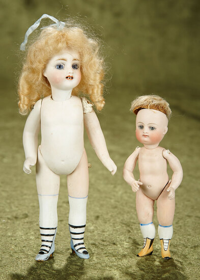"""5"""" & 7"""" Two German all-bisque miniature dolls. $600/800"""