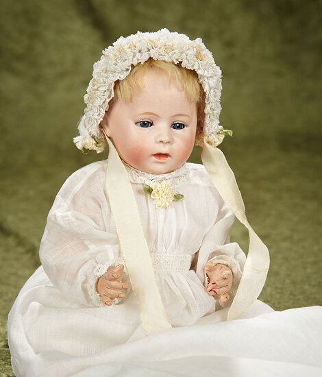 """12"""" German bisque character """"Dip"""" by Swaine and Co in beautiful antique costume. $700/900"""
