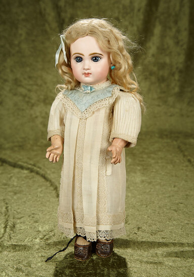 """15"""" French bisque closed mouth bebe by Emile Jumeau in original factory chemise. $2800/3200"""