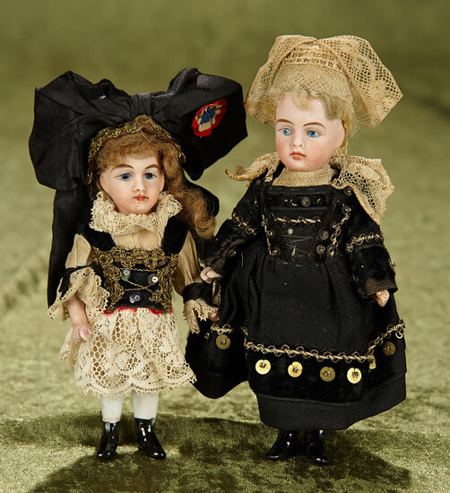 """5"""" & 6"""" Two French/German all-bisque miniature dolls in wonderful folklore costume. $500/700"""
