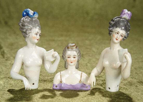 "3""-5"" Three German porcelain half-dolls by Dressel & Kister. $600/900"