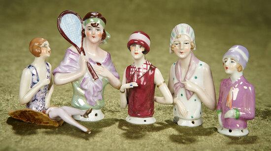 """3""""-5"""" Five German porcelain half-dolls in the flapper mode. $300/500"""