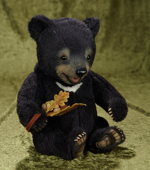 "12"" Mohair ""Pep"" bear cub by R. John Wright from Baby Bear series. $700/900"