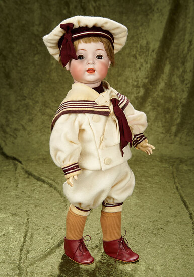 """22"""" German bisque flirty-eyed character, 122, Kammer and Reinhardt with toddler body. $500/700"""