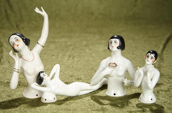 "3""-6"" Four German porcelain Art Deco half-dolls and bathing beauty. $400/500"