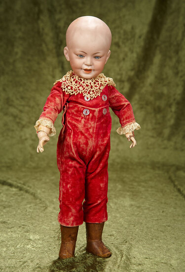 """17"""" French bisque smiling character, 227, by SFBJ with velvet costume. $900/1100"""
