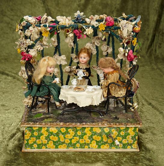 "12"" x 12""h. German musical handwind toy ""Tea in the Garden"" by Zinner & Sohne. $1100/1300"