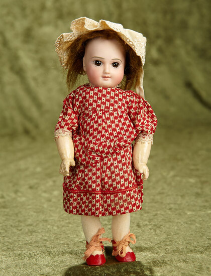 """9"""" Petite French bisque premiere bebe by Jumeau with hint of smile, original body. $1800/2200"""
