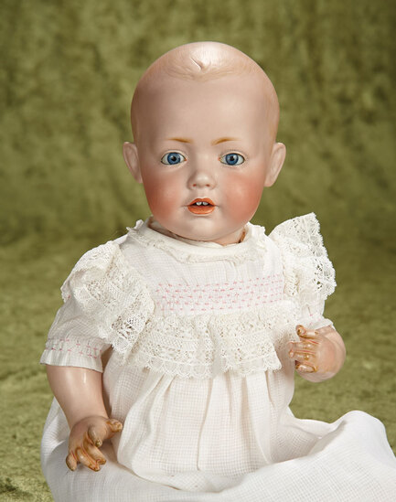 """17"""" German bisque character """"Hilda"""" by Kestner with antique gown. $1100/1400"""