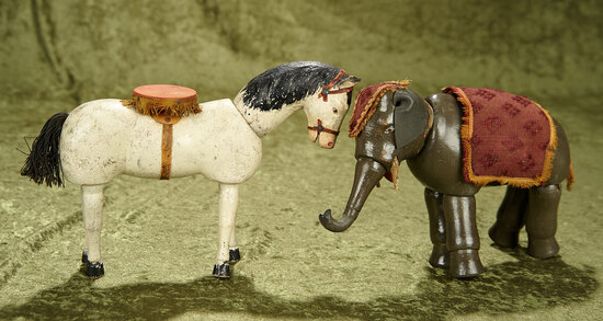 "7"" Wooden circus horse and elephant by Schoenhut."